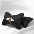Luxury Gucci Honeybee 2pcs Polyester Car Neck Pillows Support Headrest - Black
