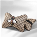 Luxury Gucci Honeybee 2pcs Polyester Car Neck Pillows Support Headrest - Brown