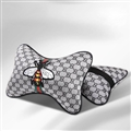 Luxury Gucci Honeybee 2pcs Polyester Car Neck Pillows Support Headrest - Grey