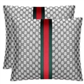 Luxury Gucci Polyester Auto Lumbar Pillows Car Hold Pillow Support Cushions 2pcs - Grey