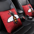 Luxury Gucci Polyester Honeybee Lumbar Pillows Car Hold Pillow Support Cushions 2pcs - Red