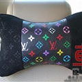 Luxury LV 2pcs Polyester Universal Car Neck Pillows Support Headrest - Black Multicolour