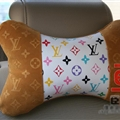 Luxury LV 2pcs Polyester Universal Car Neck Pillows Support Headrest - White