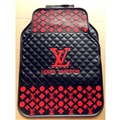 Pretty LV Genenal Automotive Carpet Car Floor Mats Rubber 5pcs Sets - Black Red